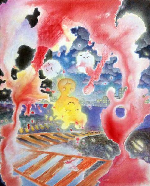 [ 道の精 / spirit of the road ] acrylic on canvas 273 x 220 mm 20101024