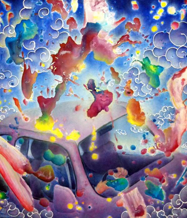 [ いねむり運転 ] acrylics on canvas 20110217